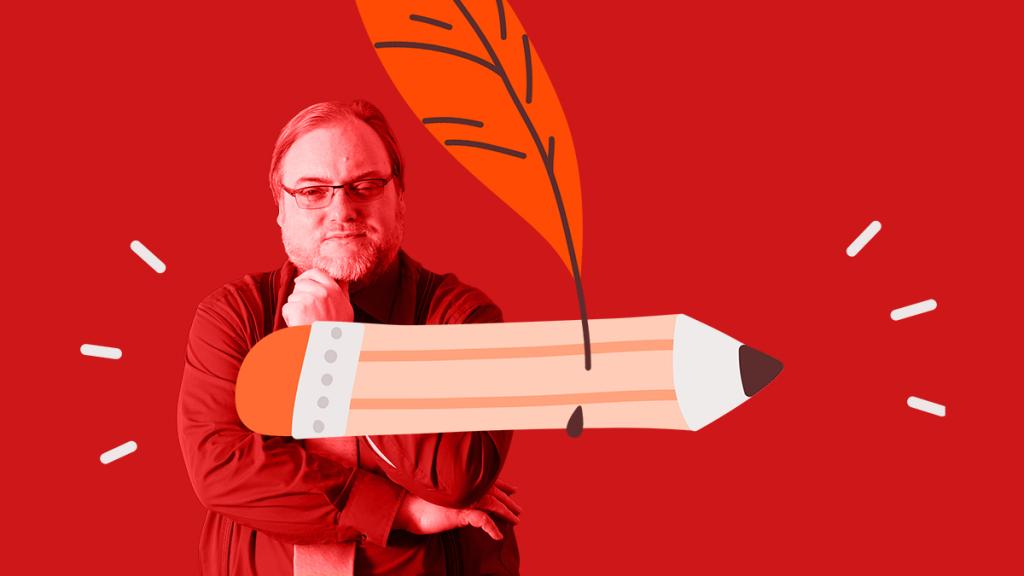 Eine Collage aus einerm Portrait von Dirk Engel, einem Stift und einer Schreibfeder.